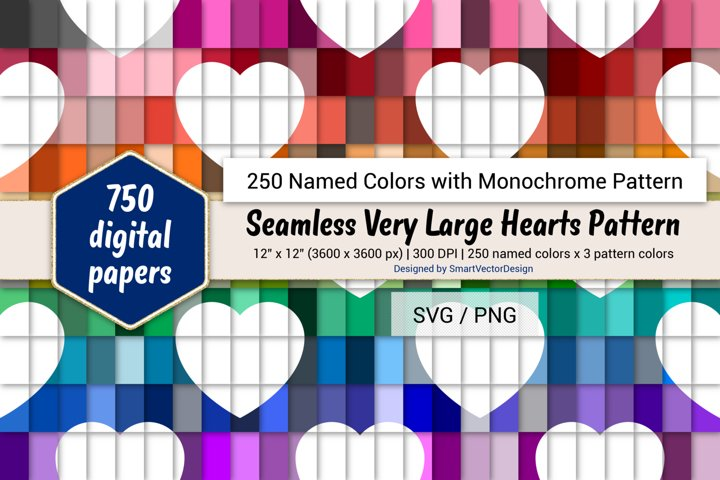 Seamless Very Large Hearts Paper - 250 Colors with Pattern