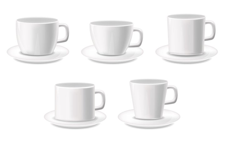 Realistic coffee cups vector