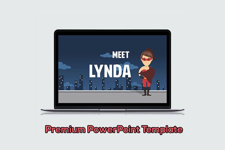 Male Superhero Cartoon PowerPoint Template