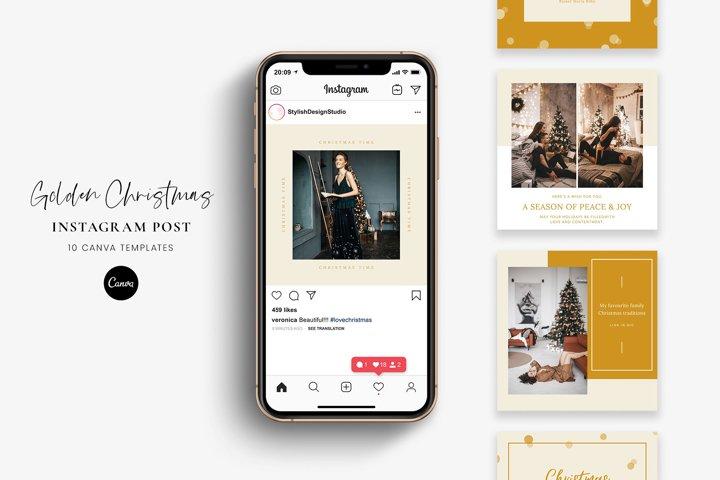 Golden Christmas- Instagram post Canva templates