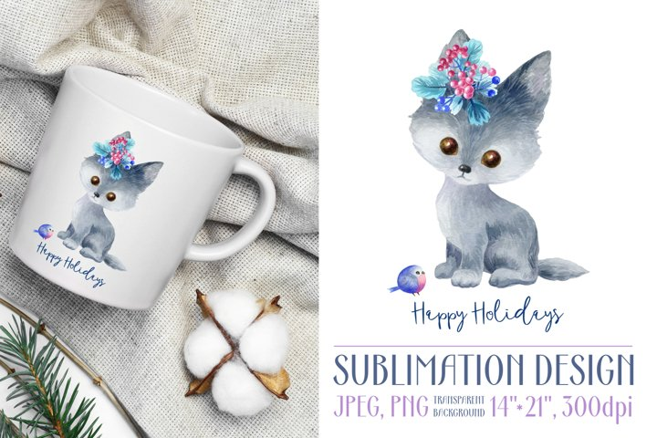 Happy holidays. Sublimation design with wolf