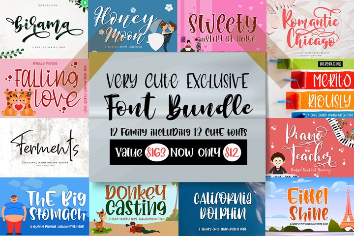 Very Cute Exclusive Handwritten Font Bundle / Limited Time
