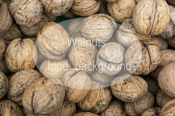 Food background pattern bunch of walnuts
