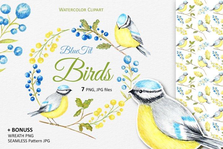 Autumn birds Blue Tit Wreath Clipart, Watercolor chickadee