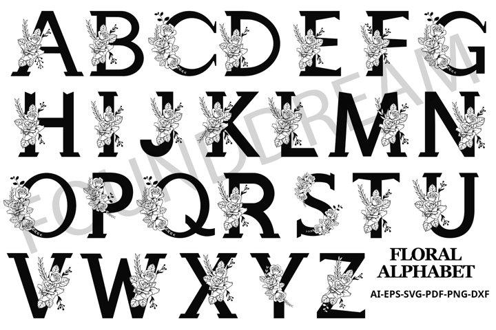 Floral Alphabet SVG
