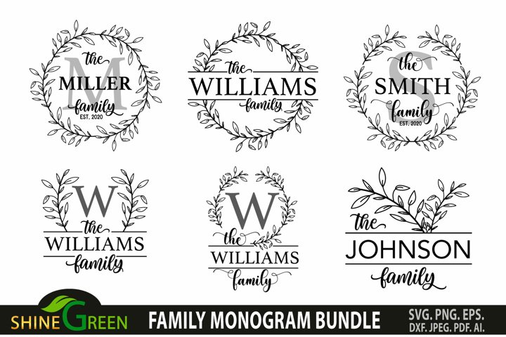 Family Monogram Bundle SVG, 8 Flower Wreath, Farmhouse, Home