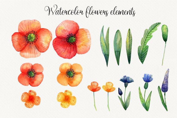 Watercolor wildflowers example 2