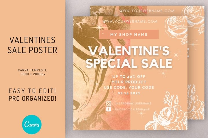Valentines Sale Discount Flyer Template on CANVA