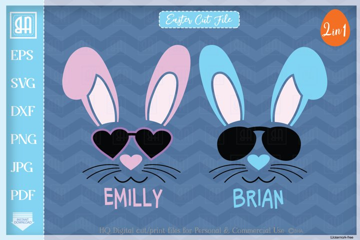 Bunny face bundle svg, Cool Easter bunny with sunglasses svg