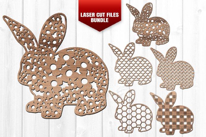 Easter Bunny Wall Art SVG Glowforge Laser Files Bundle