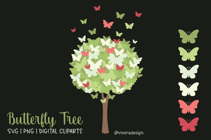 Butterfly Tree PNG SVG in Green and Pink