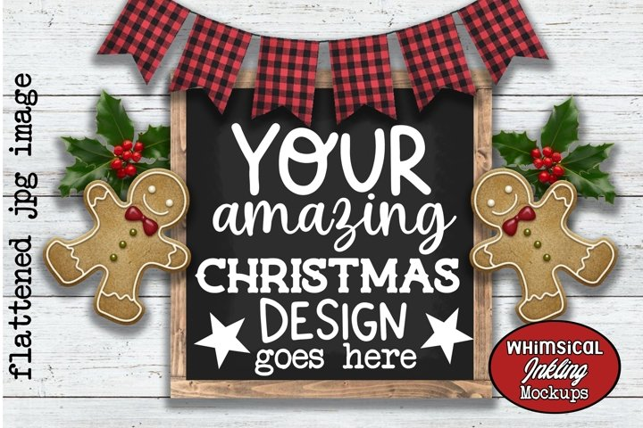 Gingerbread And Bunting Sign-Christmas Mockup example