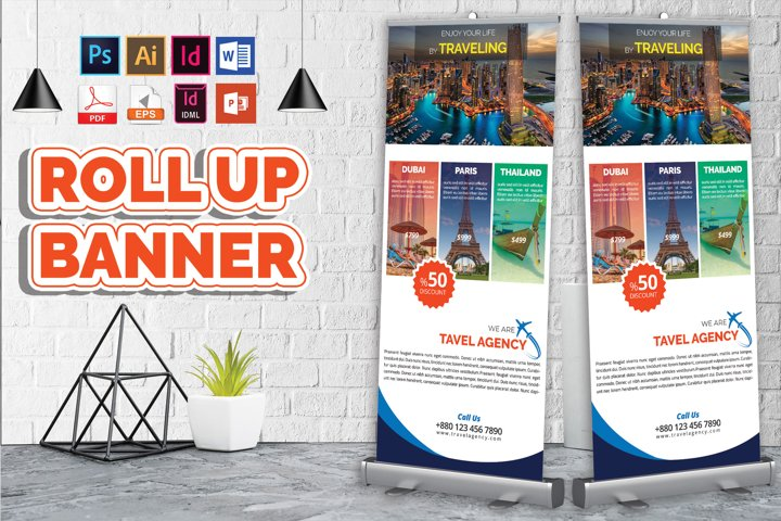 Travel Agency Roll Up Banner Vol-02
