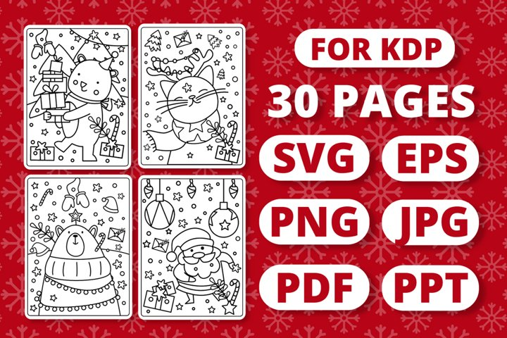 Christmas Coloring Book for Kids - 30 Pages KDP Ready