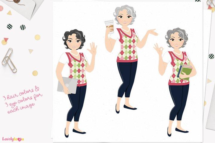 Teacher woman character clip art L478 Millie