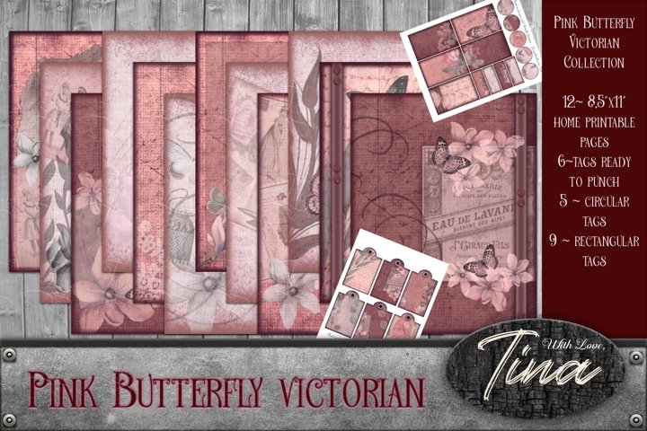 Pink Butterfly Victorian Antique Collage Designs Tags