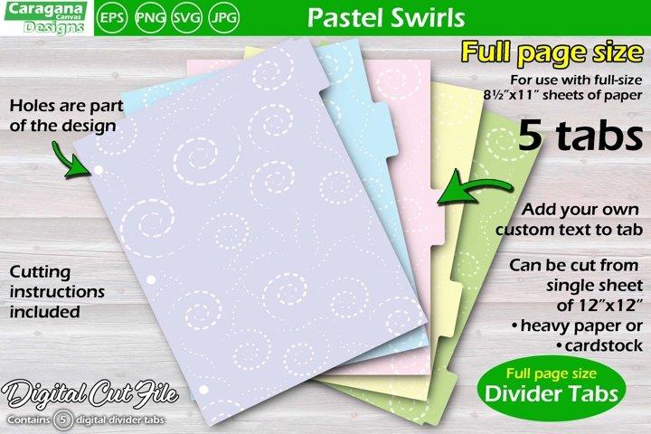 Pastel Swirls, full page divider tabs