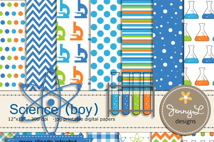 Science, Scientist Boy, Digital Paper, Molecule, Test Tube, Flask, Atom Clipart for Birthday, Baby Shower, Scrapbooking Paper Party Theme,
