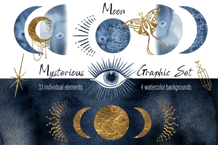 Watercolor moon clipart Magic mysterious space