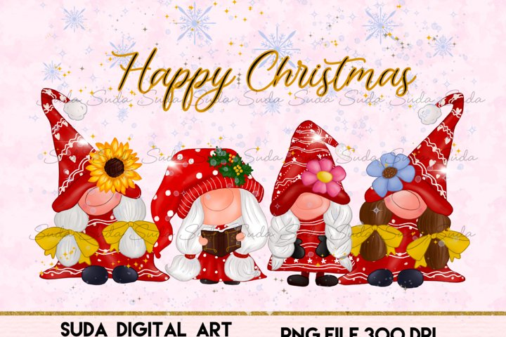 Cute Girl Gnomes Christmas Sublimation