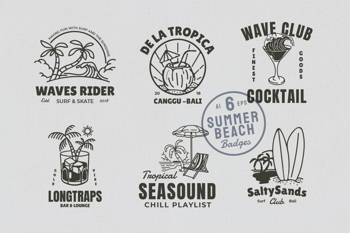6 Summer Beach Cocktail Badges
