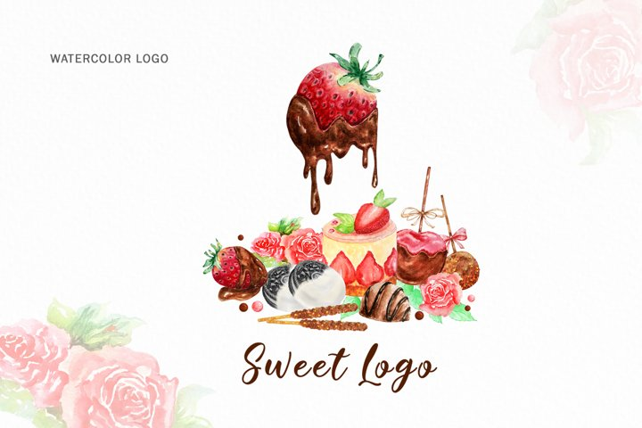 Premade Logo Cupcake Strawberry, Watercolor Logo