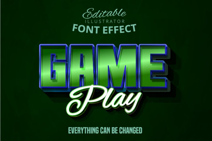 Game play text, editable font effect