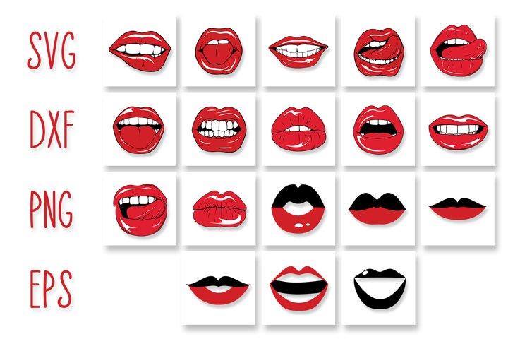 Lips SVG Cut Files Pack | Lips Kiss Face Mask Design SVG