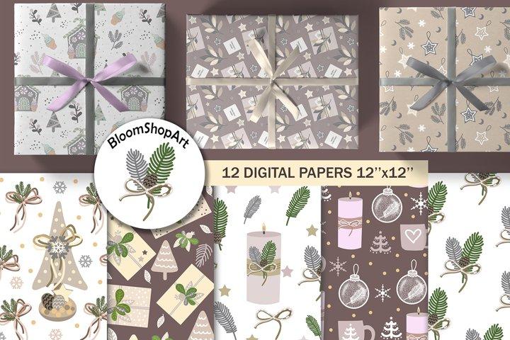 Pastel christmas digital paper, winter seamless pattern