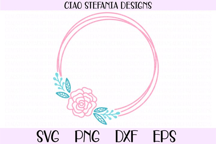 Rose Flower Geometric Circle Frame Wedding SVG Cut File