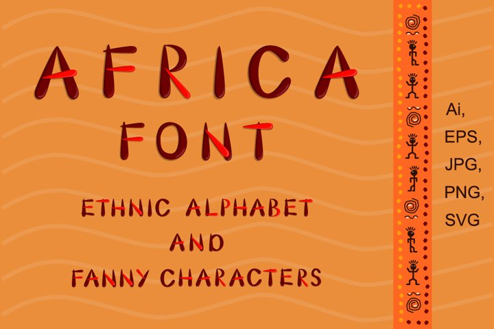 African ethnic alphabet. Drawn lettering with funny characte
