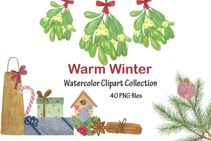 Warm Winter Watercolor clipart collection