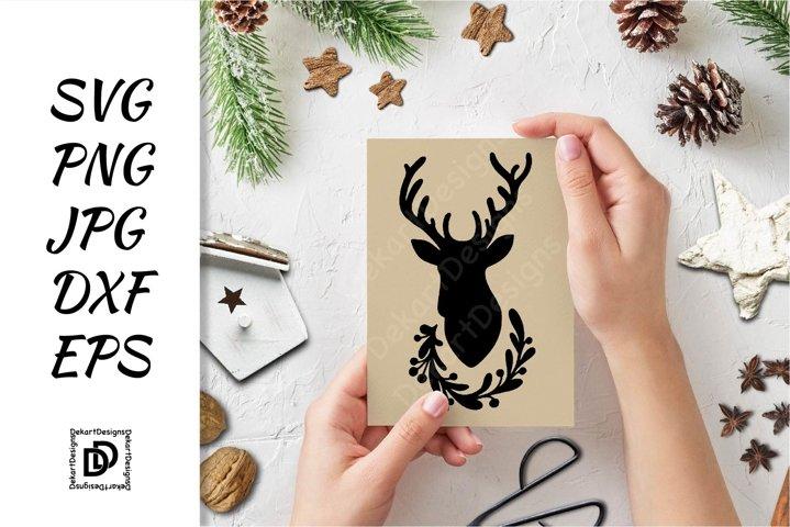 Deer SVG, Christmas Deer Head Cut File SVG,PNG, JPG, DXF