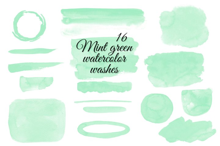 Mint green watercolor washes Watercolor stains clipart