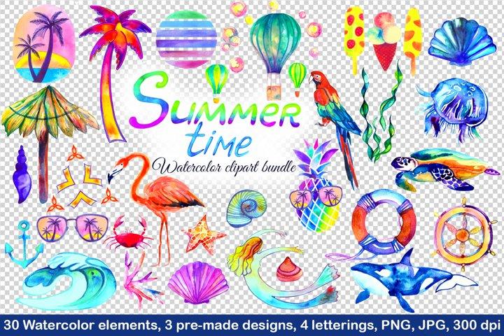 Summer bundles. Watercolor clipart. Png, jpg