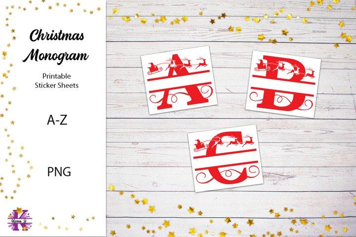Printable Christmas Monogram Stickers