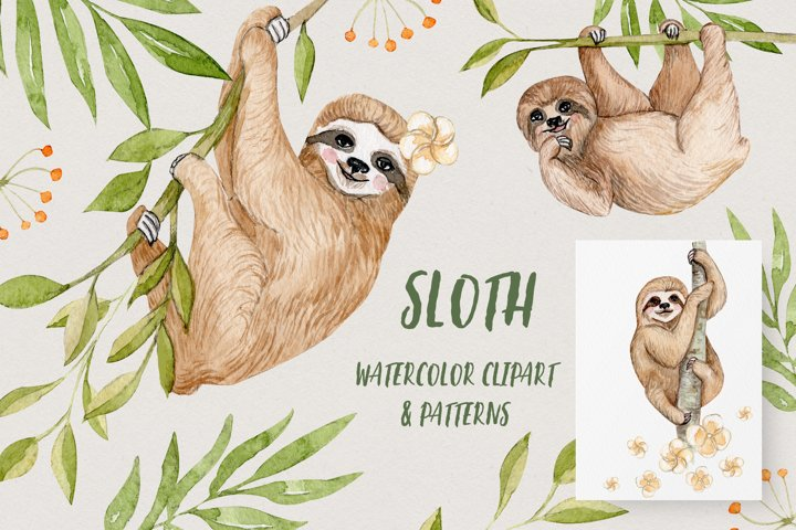 Watercolor Sloths Clipart and Patterns