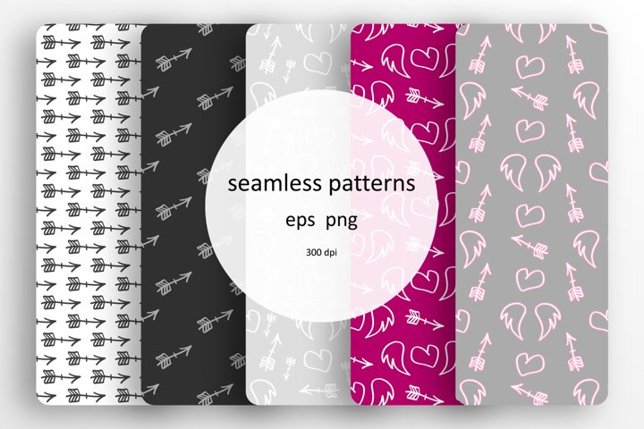 5 seamless patterns with arrows