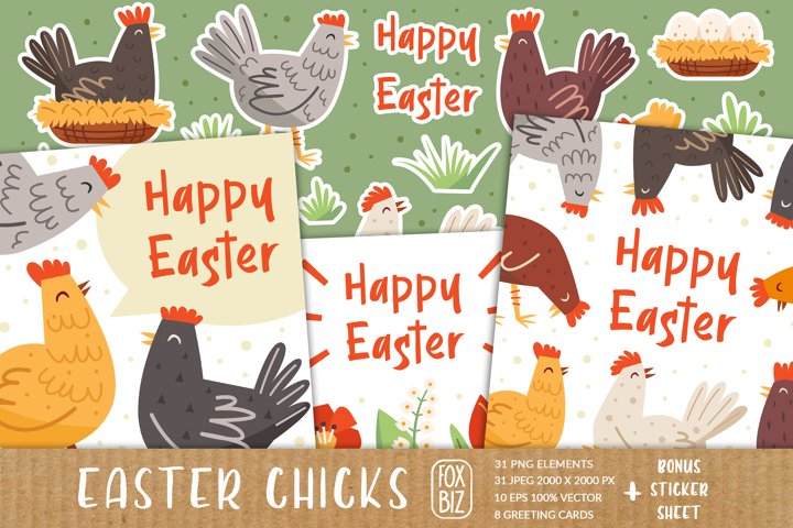 Easter chicks digital cliparts, greeting cards, invitations.
