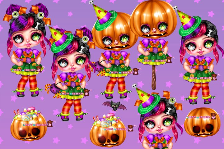 Witch girl with Pumpkin PSD/PNG