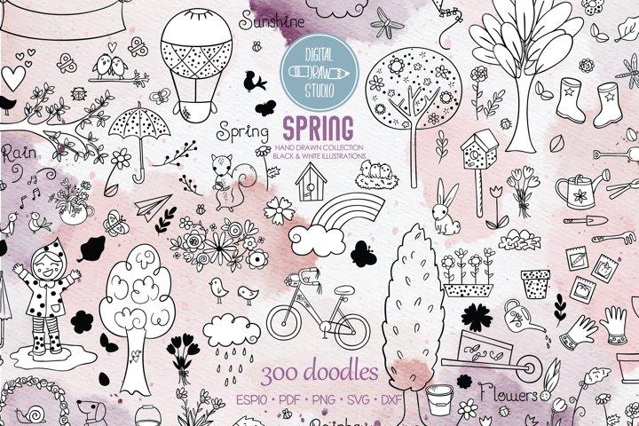 Spring Season Doodles | Garden, Bug, Bicycle, Bird, Flower