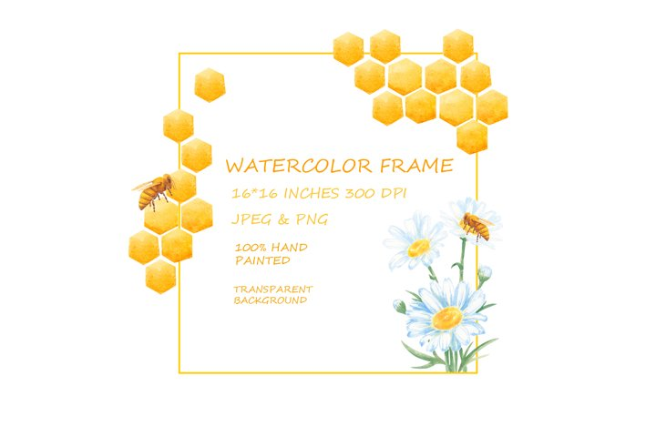 Watercolor Frames Digital Download Honeycomb, Honey Bees