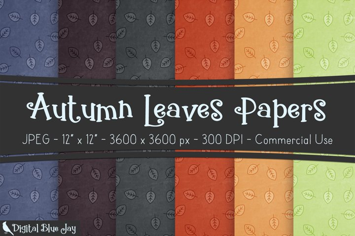 Digital Scrapbook Paper Backgrounds - Autumn Leaves