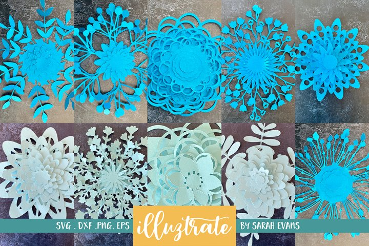 Paper Cut Flowers Template Bundle | Paper Flower Collection
