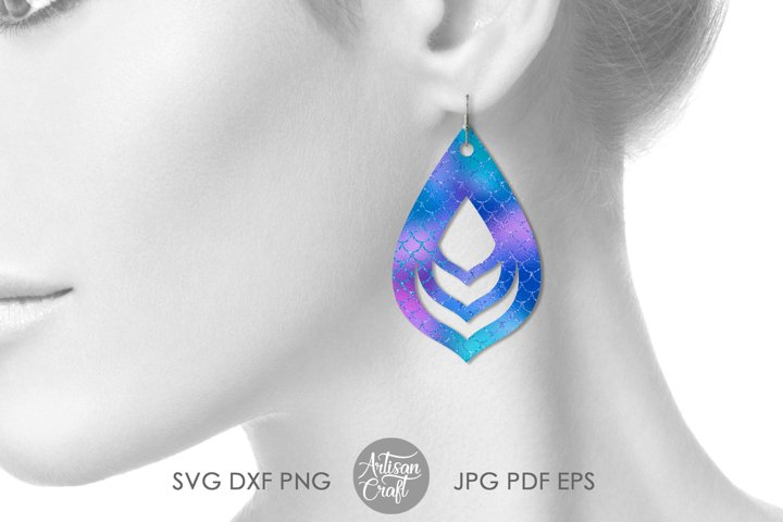 Teardrop earrings,SVG, cut file, leather earrings SVG example 3