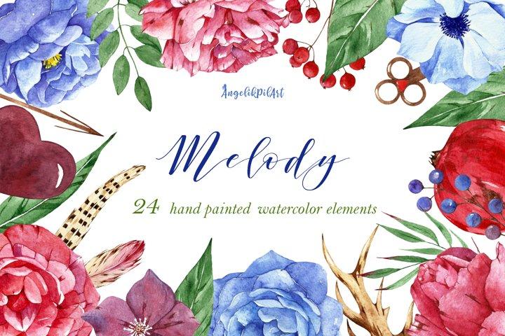 watercolor flowers clipart. flowers garden