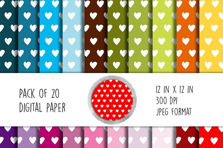Hearts Digital Paper. Set of 20 papers 12 in x 12 inches.
