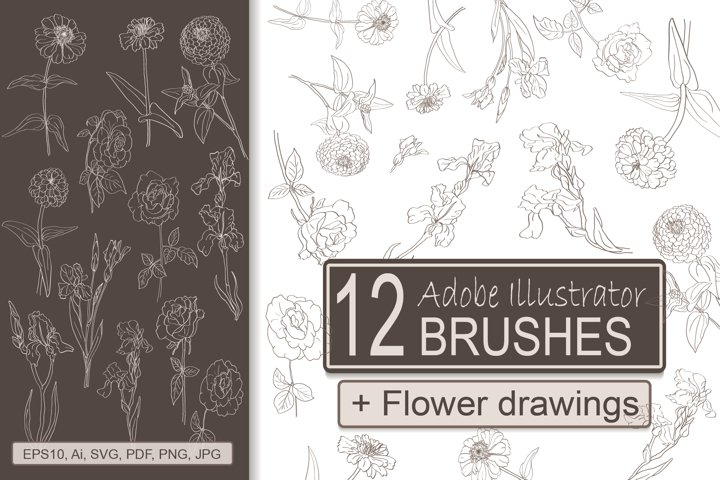 Flower Brushes for Adobe Illustrator 12 Colors