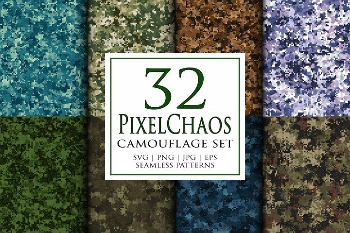 32 Vector pixel digital masking camouflage seamless patterns