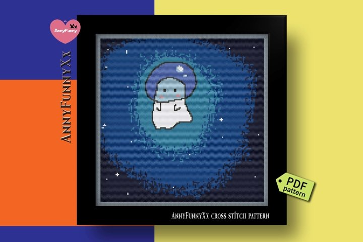 Ghost cross stitch pattern PDF, Horror witch, Halloween